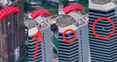 Hombre cae en caida libre de paracaidas