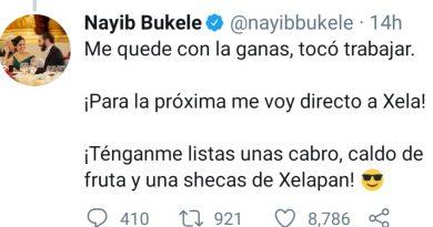 Nayib Bukele quiere ir a xela a comer