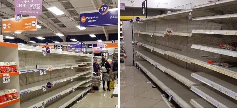 SUPER MERCADOS DE GUATEMALA VACIOS POR MIEDO AL CORONAVIRUS