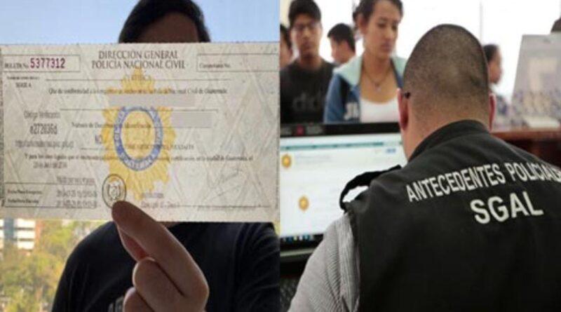 Antecedentes policiacos podrán ser tramitados en línea en Guatemala